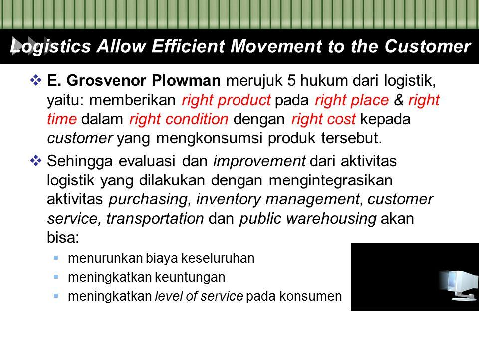 Logistics Allow Efficient Movement to the Customer  E. Grosvenor Plowman merujuk 5 hukum dari logistik, yaitu: memberikan right product pada right pl