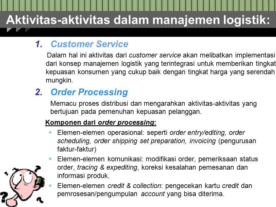 Aktivitas-aktivitas dalam manajemen logistik: 1.Customer Service Dalam hal ini aktivitas dari customer service akan melibatkan implementasi dari konse