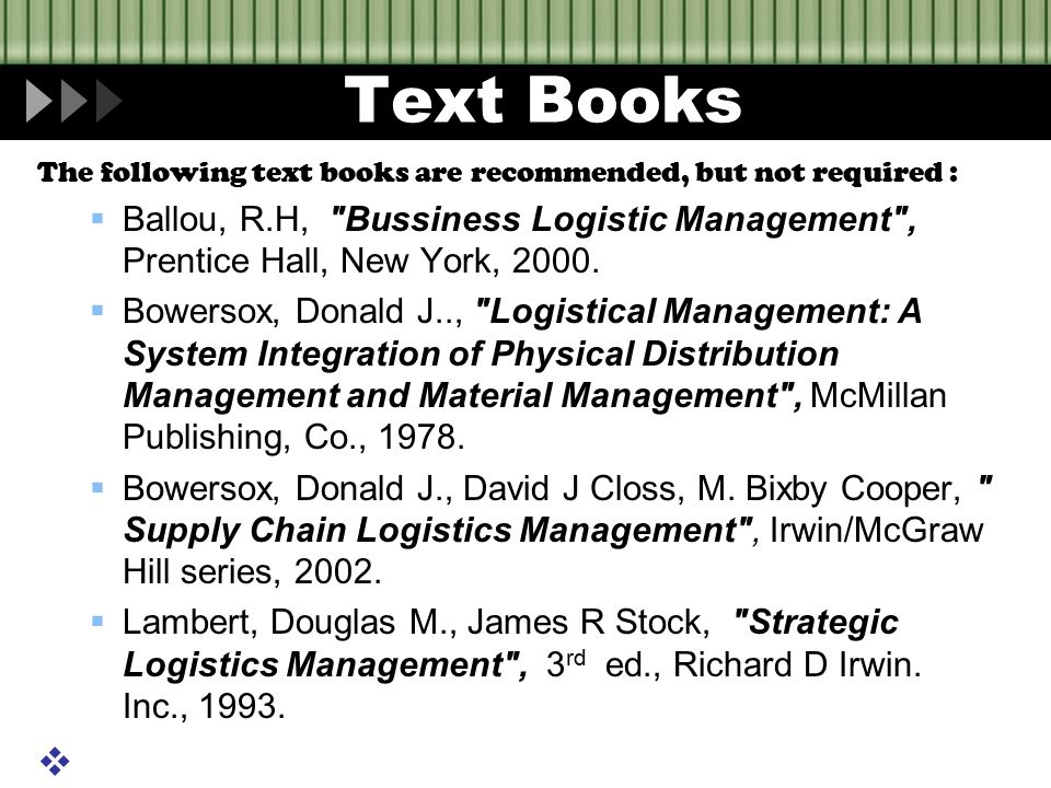 Text Books The following text books are recommended, but not required :  Ballou, R.H,