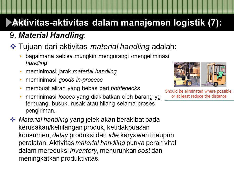 Aktivitas-aktivitas dalam manajemen logistik (7): 9. Material Handling:  Tujuan dari aktivitas material handling adalah: bagaimana sebisa mungkin men