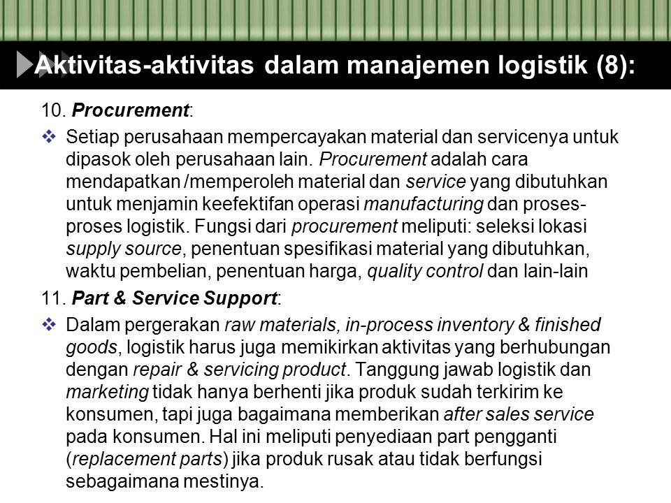 Aktivitas-aktivitas dalam manajemen logistik (8): 10. Procurement:  Setiap perusahaan mempercayakan material dan servicenya untuk dipasok oleh perusa