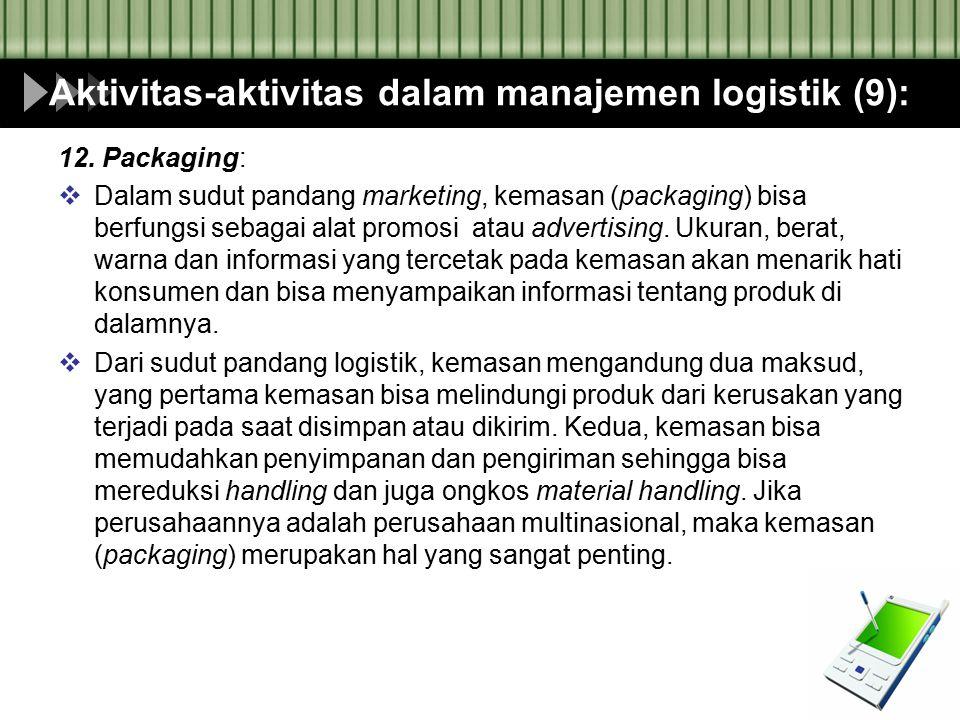 Aktivitas-aktivitas dalam manajemen logistik (9): 12. Packaging:  Dalam sudut pandang marketing, kemasan (packaging) bisa berfungsi sebagai alat prom