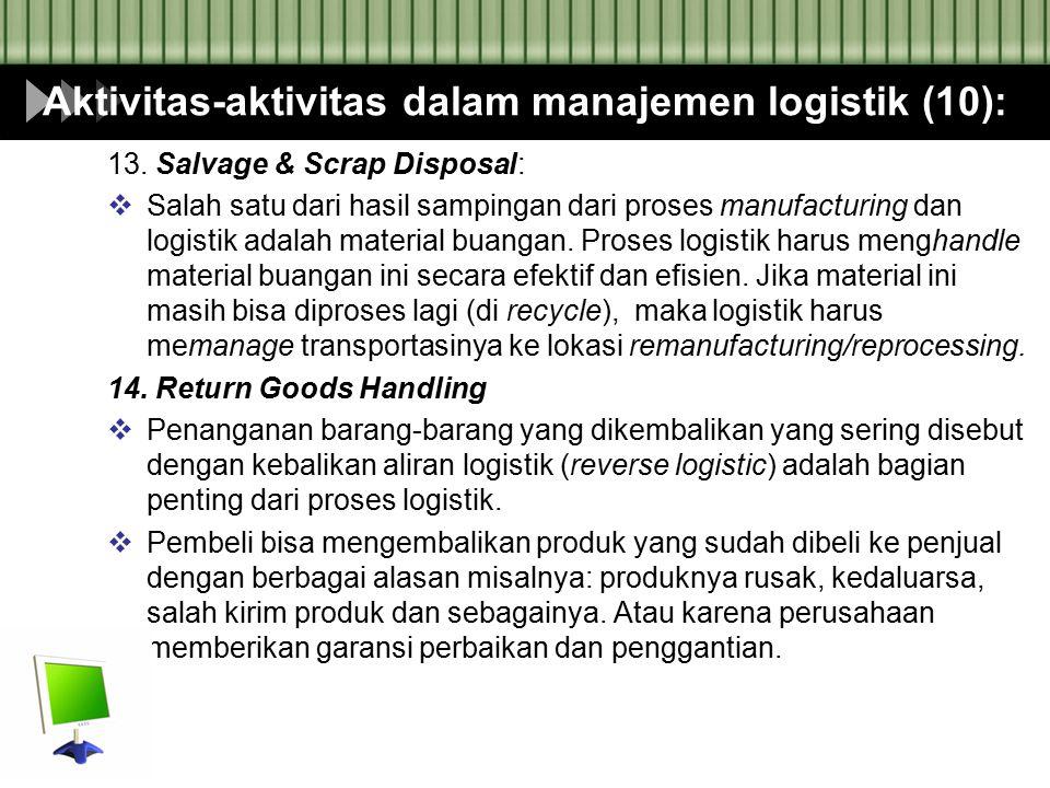 Aktivitas-aktivitas dalam manajemen logistik (10): 13. Salvage & Scrap Disposal:  Salah satu dari hasil sampingan dari proses manufacturing dan logis