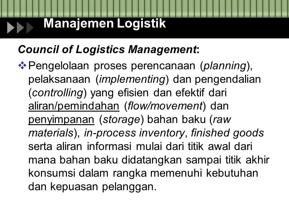 Manajemen Logistik Council of Logistics Management:  Pengelolaan proses perencanaan (planning), pelaksanaan (implementing) dan pengendalian (controll