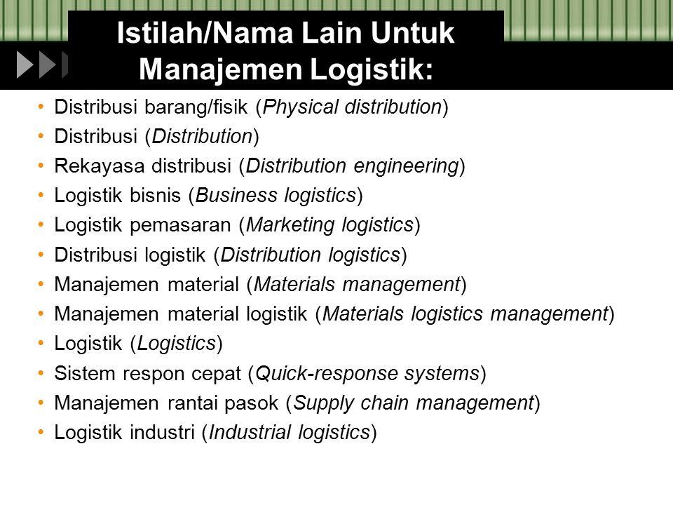Istilah/Nama Lain Untuk Manajemen Logistik: Distribusi barang/fisik (Physical distribution) Distribusi (Distribution) Rekayasa distribusi (Distributio