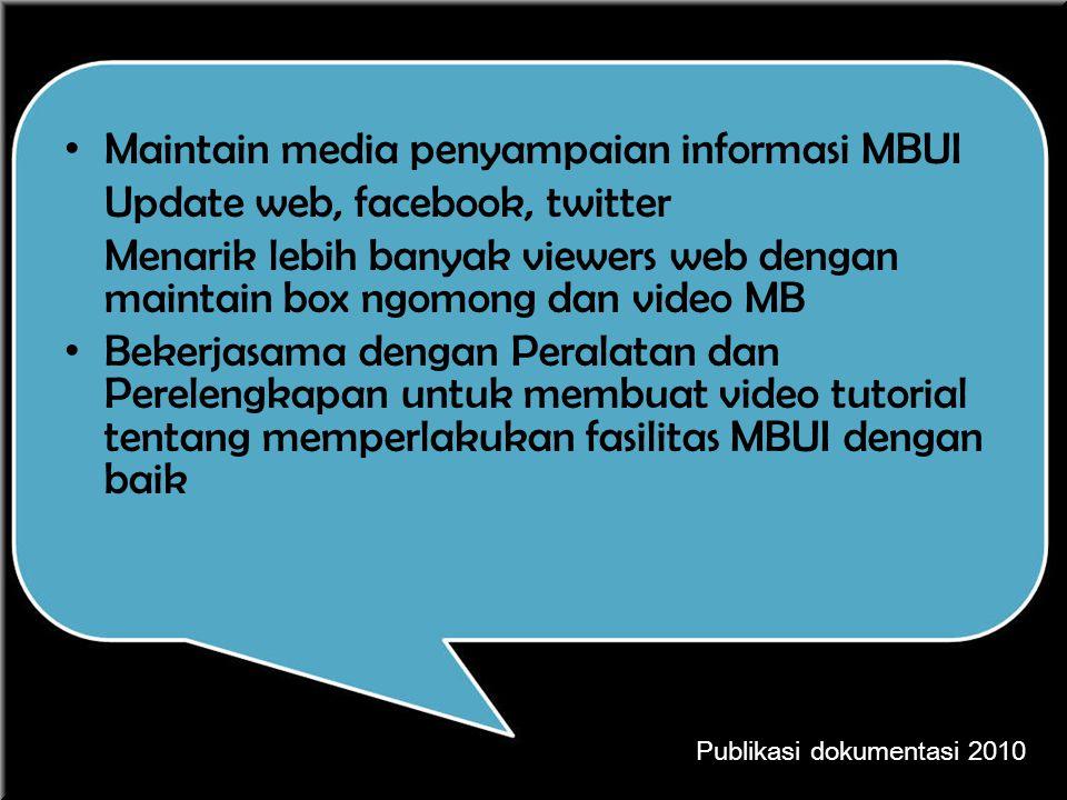 Maintain media penyampaian informasi MBUI Update web, facebook, twitter Menarik lebih banyak viewers web dengan maintain box ngomong dan video MB Beke