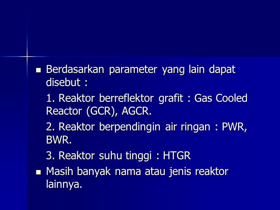 Berdasarkan parameter yang lain dapat disebut : Berdasarkan parameter yang lain dapat disebut : 1. Reaktor berreflektor grafit : Gas Cooled Reactor (G