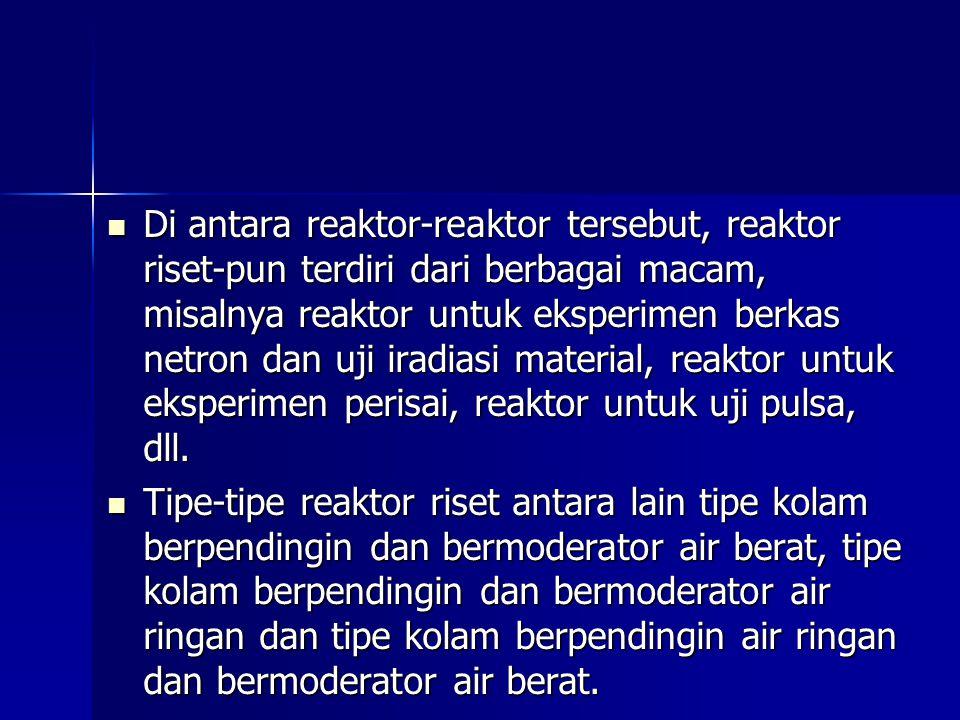 Di antara reaktor-reaktor tersebut, reaktor riset-pun terdiri dari berbagai macam, misalnya reaktor untuk eksperimen berkas netron dan uji iradiasi material, reaktor untuk eksperimen perisai, reaktor untuk uji pulsa, dll.