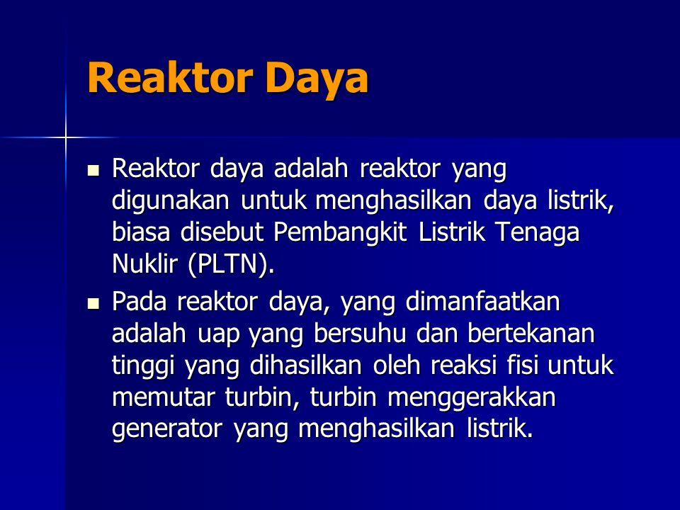Reaktor Daya Reaktor daya adalah reaktor yang digunakan untuk menghasilkan daya listrik, biasa disebut Pembangkit Listrik Tenaga Nuklir (PLTN). Reakto