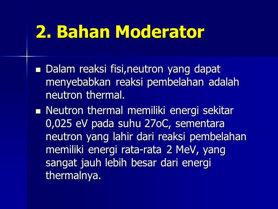 2. Bahan Moderator Dalam reaksi fisi,neutron yang dapat menyebabkan reaksi pembelahan adalah neutron thermal. Dalam reaksi fisi,neutron yang dapat men