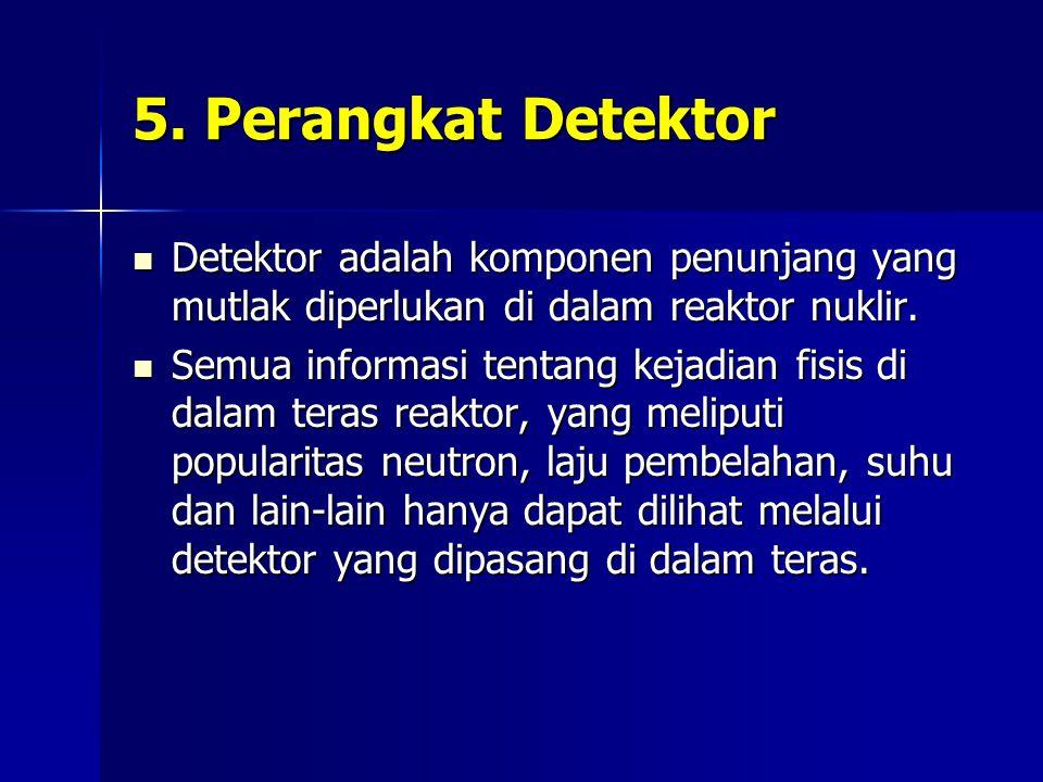 5. Perangkat Detektor Detektor adalah komponen penunjang yang mutlak diperlukan di dalam reaktor nuklir. Detektor adalah komponen penunjang yang mutla