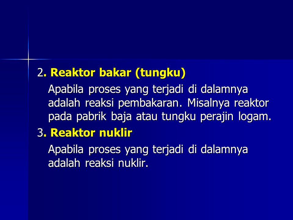 2. Reaktor bakar (tungku) Apabila proses yang terjadi di dalamnya adalah reaksi pembakaran. Misalnya reaktor pada pabrik baja atau tungku perajin loga