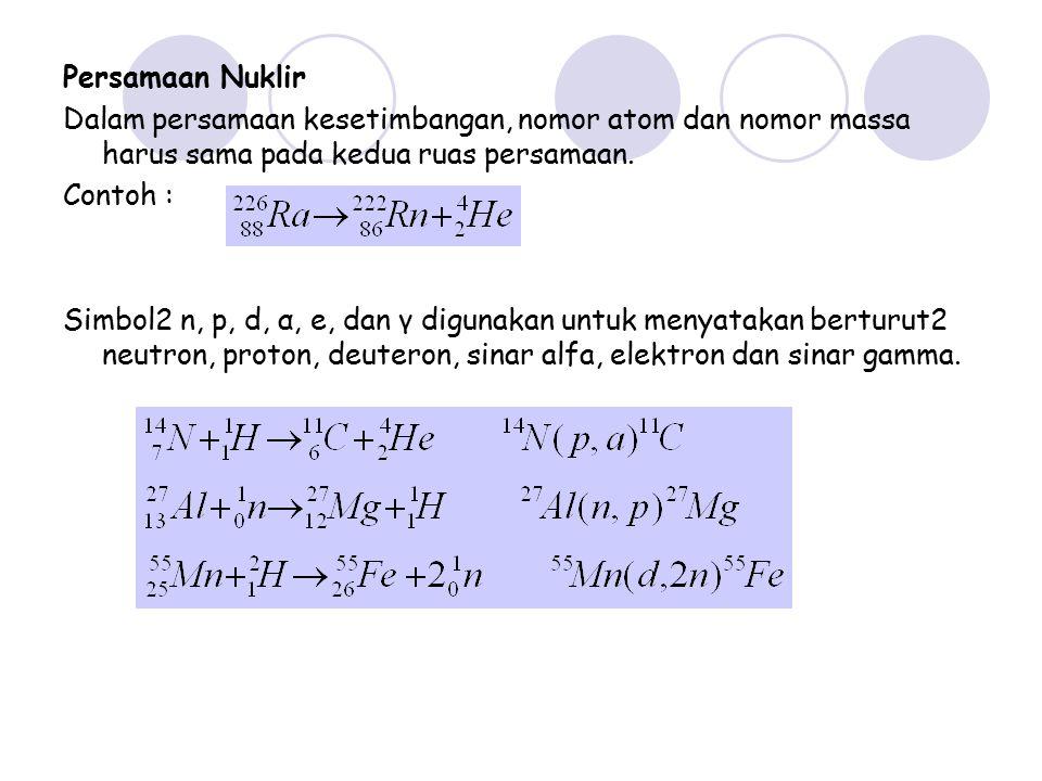 Persamaan Nuklir Dalam persamaan kesetimbangan, nomor atom dan nomor massa harus sama pada kedua ruas persamaan. Contoh : Simbol2 n, p, d, α, e, dan γ