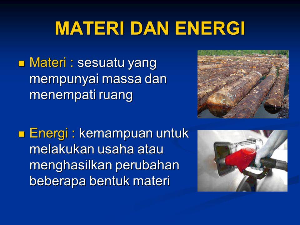 MATERI DAN ENERGI Materi : sesuatu yang mempunyai massa dan menempati ruang Materi : sesuatu yang mempunyai massa dan menempati ruang Energi : kemampu