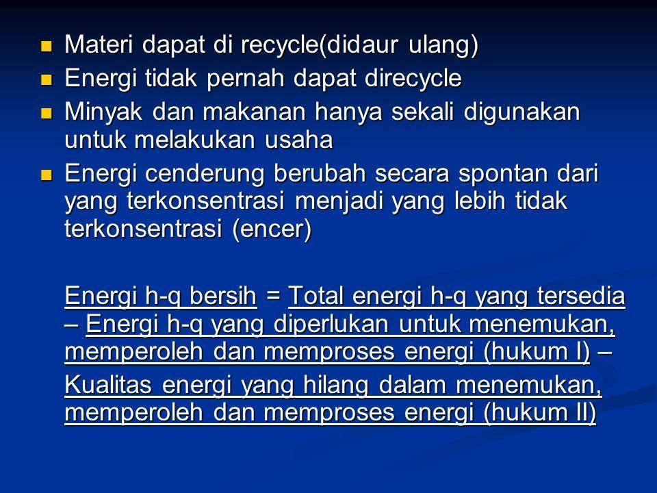 Materi dapat di recycle(didaur ulang) Materi dapat di recycle(didaur ulang) Energi tidak pernah dapat direcycle Energi tidak pernah dapat direcycle Mi