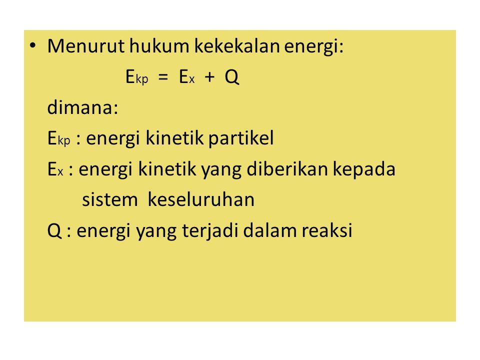 Menurut hukum kekekalan energi: E kp = E x + Q dimana: E kp : energi kinetik partikel E x : energi kinetik yang diberikan kepada sistem keseluruhan Q : energi yang terjadi dalam reaksi