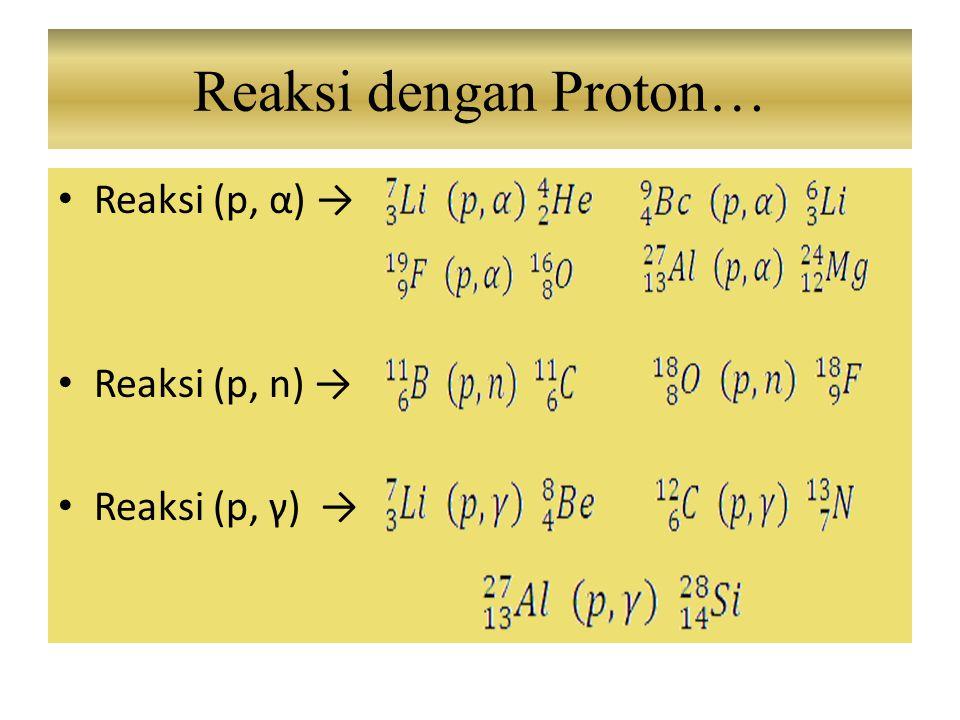 Reaksi (p, α) → Reaksi (p, n) → Reaksi (p, γ) → Reaksi dengan Proton…