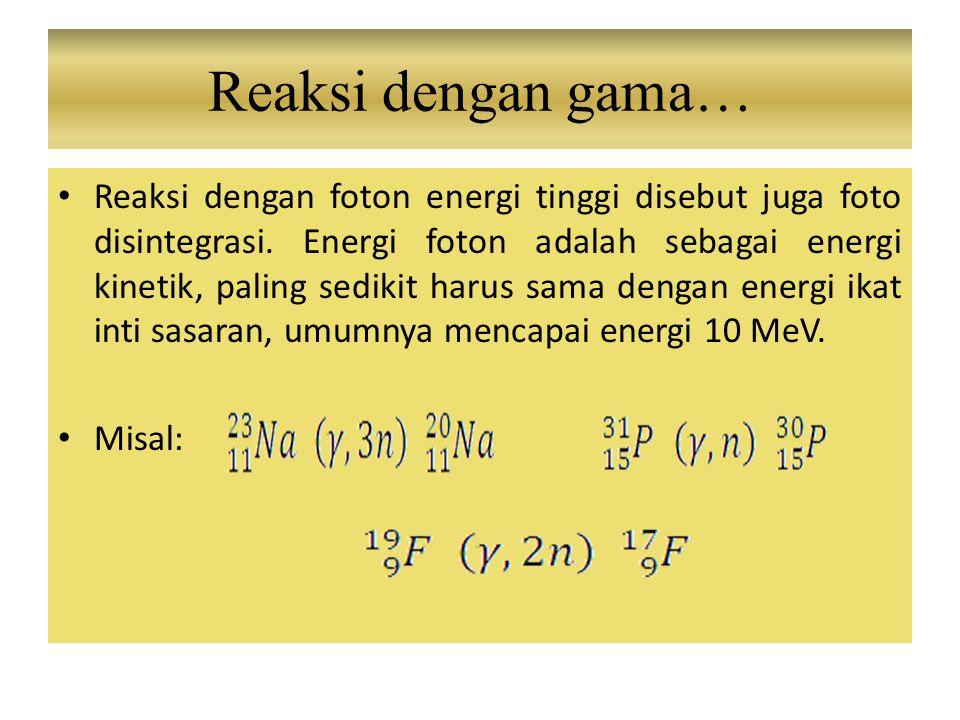 Reaksi dengan foton energi tinggi disebut juga foto disintegrasi. Energi foton adalah sebagai energi kinetik, paling sedikit harus sama dengan energi