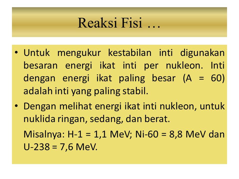 Untuk mengukur kestabilan inti digunakan besaran energi ikat inti per nukleon. Inti dengan energi ikat paling besar (A = 60) adalah inti yang paling s