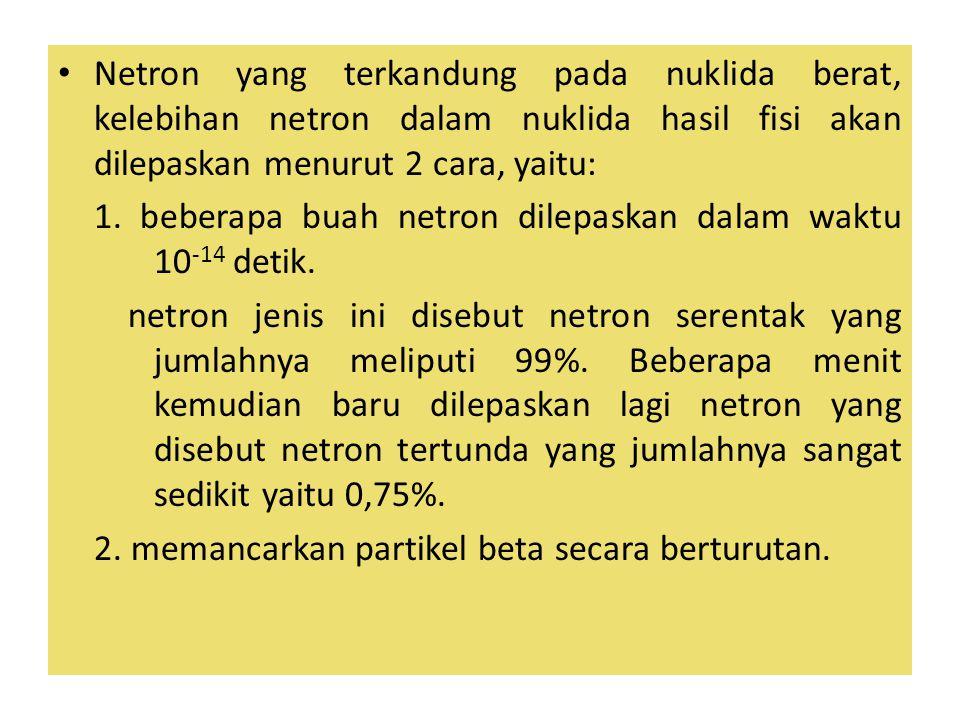 Netron yang terkandung pada nuklida berat, kelebihan netron dalam nuklida hasil fisi akan dilepaskan menurut 2 cara, yaitu: 1.