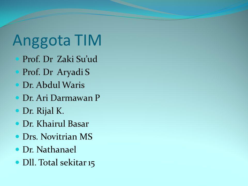 Anggota TIM Prof. Dr Zaki Su'ud Prof. Dr Aryadi S Dr. Abdul Waris Dr. Ari Darmawan P Dr. Rijal K. Dr. Khairul Basar Drs. Novitrian MS Dr. Nathanael Dl