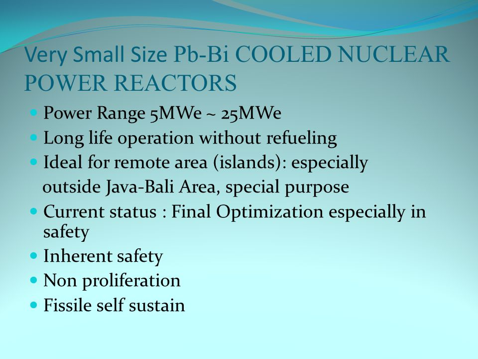 Very Small Size Pb-Bi COOLED NUCLEAR POWER REACTORS Power Range 5MWe ~ 25MWe Long life operation without refueling Ideal for remote area (islands): especially outside Java-Bali Area, special purpose Current status : Final Optimization especially in safety Inherent safety Non proliferation Fissile self sustain