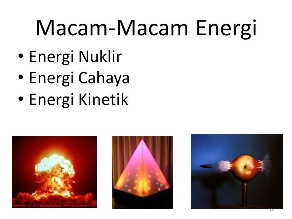 Macam-Macam Energi Energi Nuklir Energi Cahaya Energi Kinetik 10