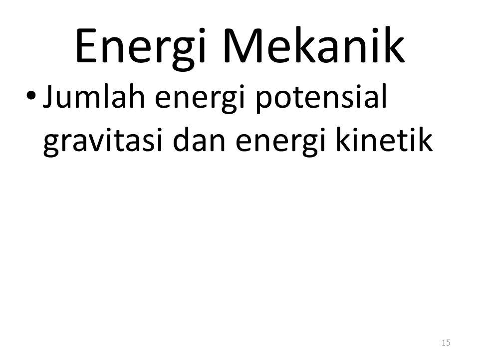 Energi Mekanik Jumlah energi potensial gravitasi dan energi kinetik 15