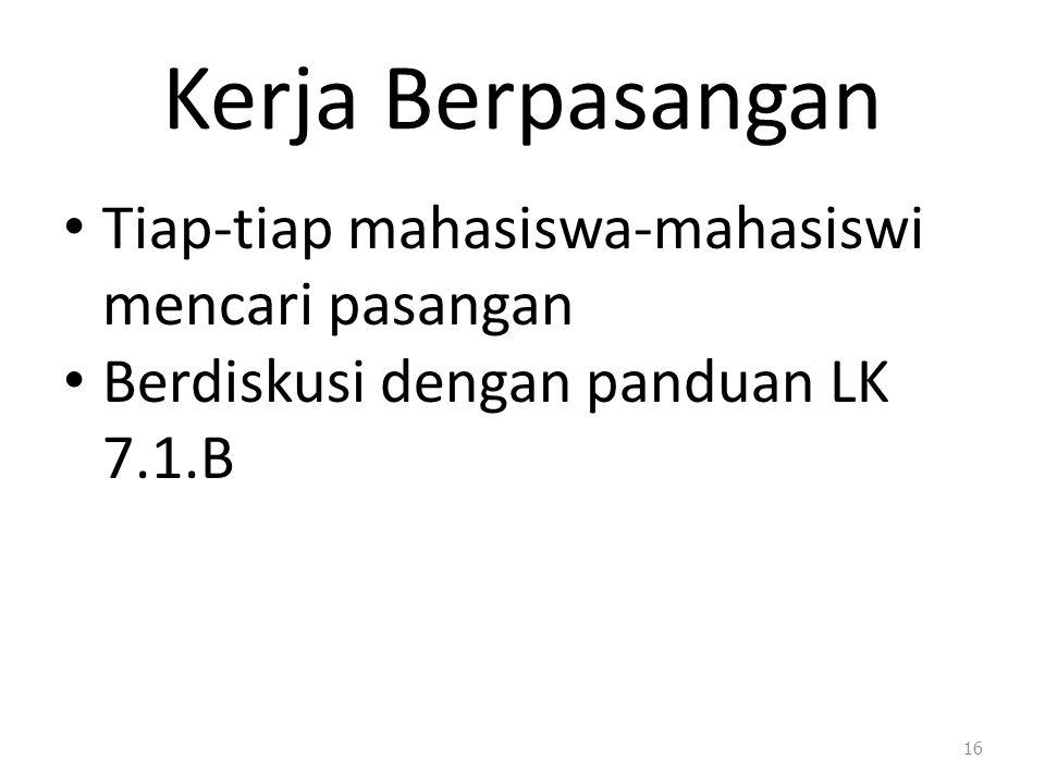 Kerja Berpasangan Tiap-tiap mahasiswa-mahasiswi mencari pasangan Berdiskusi dengan panduan LK 7.1.B 16