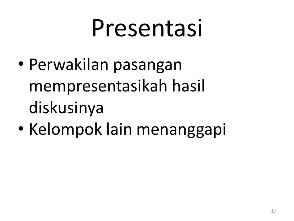 Presentasi Perwakilan pasangan mempresentasikah hasil diskusinya Kelompok lain menanggapi 17