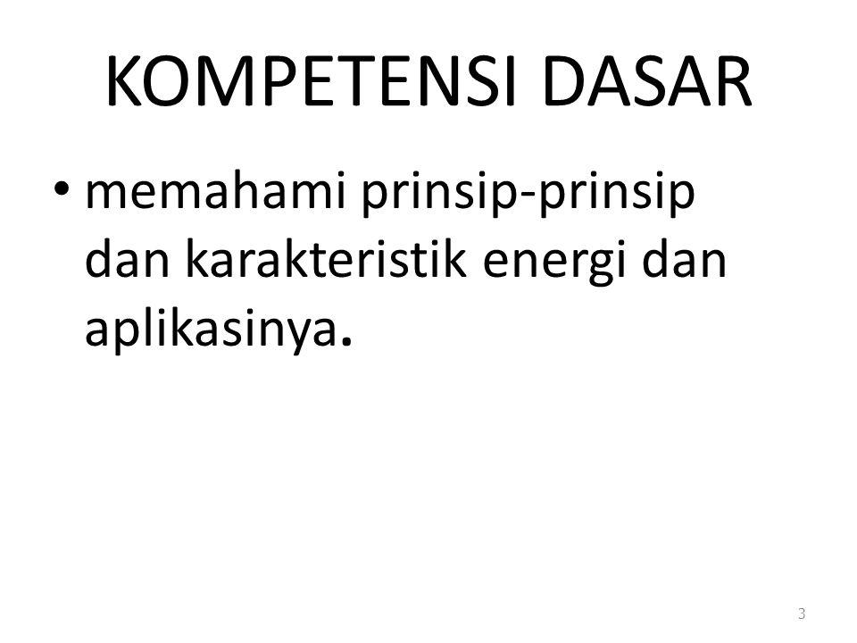 KOMPETENSI DASAR memahami prinsip-prinsip dan karakteristik energi dan aplikasinya. 3