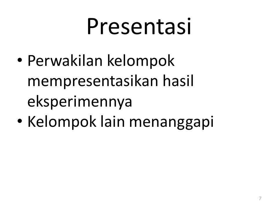 Presentasi Perwakilan kelompok mempresentasikan hasil eksperimennya Kelompok lain menanggapi 7