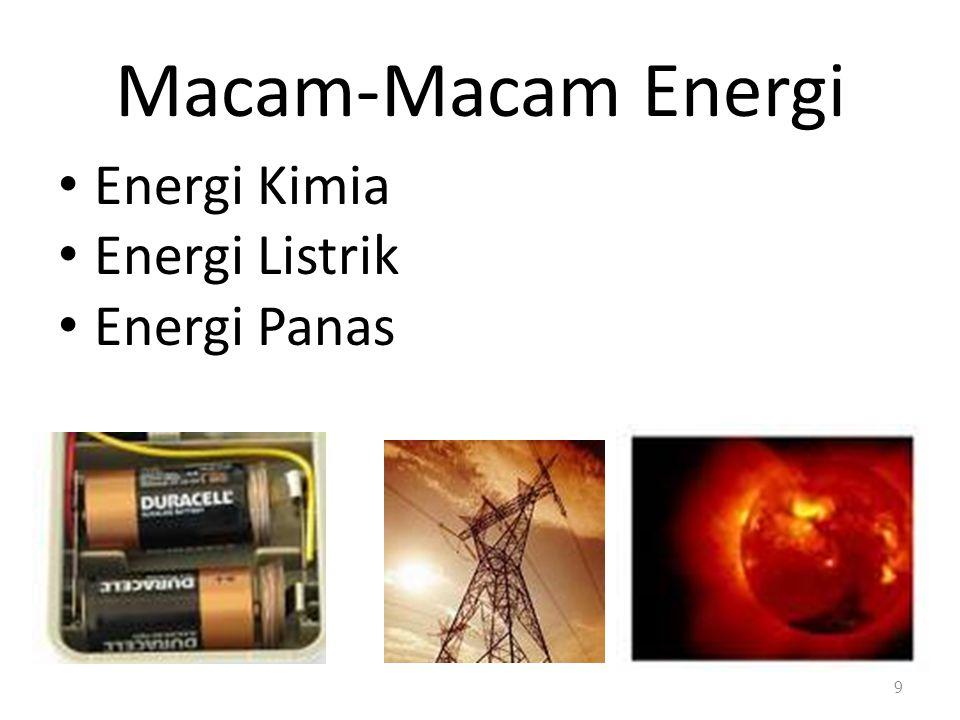 Macam-Macam Energi Energi Kimia Energi Listrik Energi Panas 9
