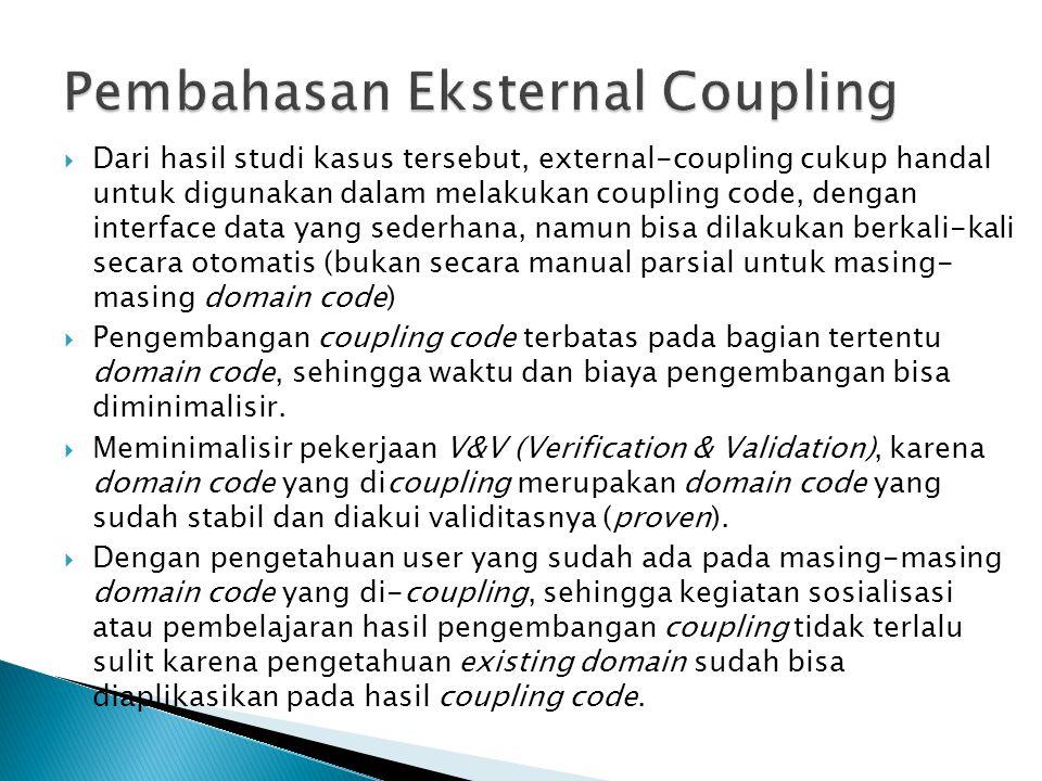  Dari hasil studi kasus tersebut, external-coupling cukup handal untuk digunakan dalam melakukan coupling code, dengan interface data yang sederhana,
