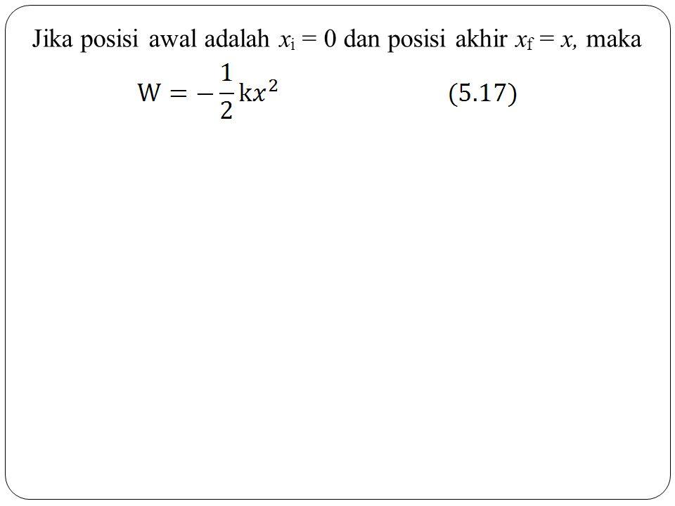 Jika posisi awal adalah x i = 0 dan posisi akhir x f = x, maka