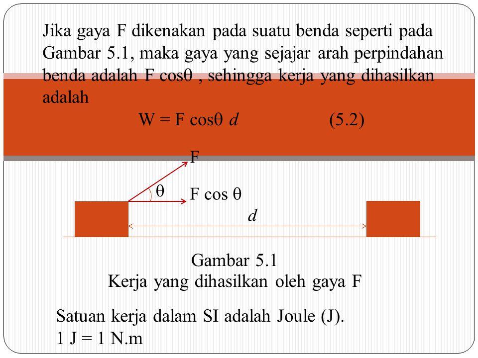 F  F cos  d Gambar 5.1 Kerja yang dihasilkan oleh gaya F Jika gaya F dikenakan pada suatu benda seperti pada Gambar 5.1, maka gaya yang sejajar arah