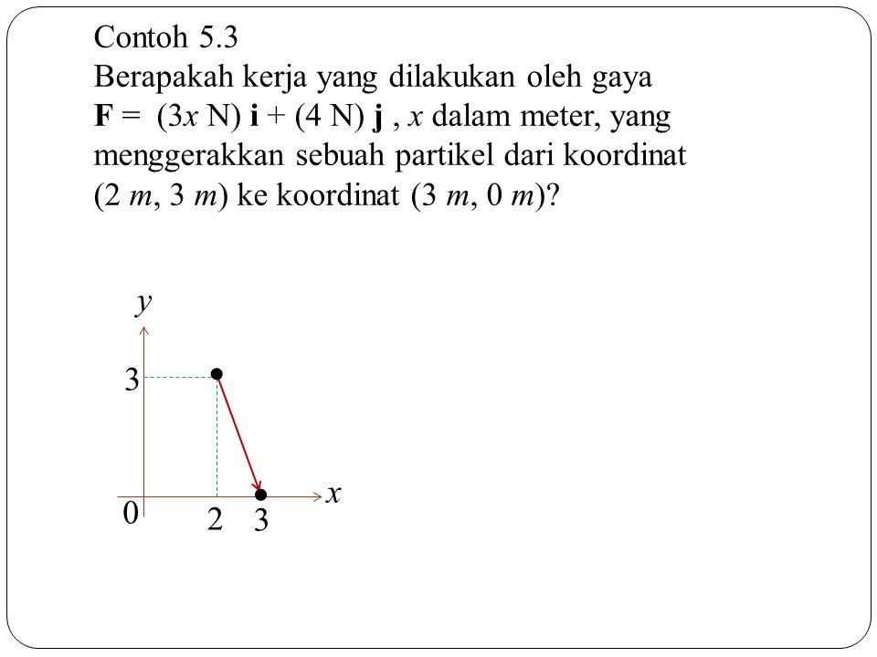 Contoh 5.3 Berapakah kerja yang dilakukan oleh gaya F = (3x N) i + (4 N) j, x dalam meter, yang menggerakkan sebuah partikel dari koordinat (2 m, 3 m)