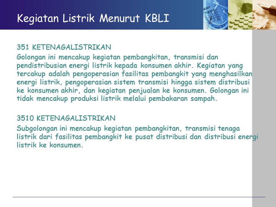 Kegiatan Listrik Menurut KBLI 351 KETENAGALISTRIKAN Golongan ini mencakup kegiatan pembangkitan, transmisi dan pendistribusian energi listrik kepada k