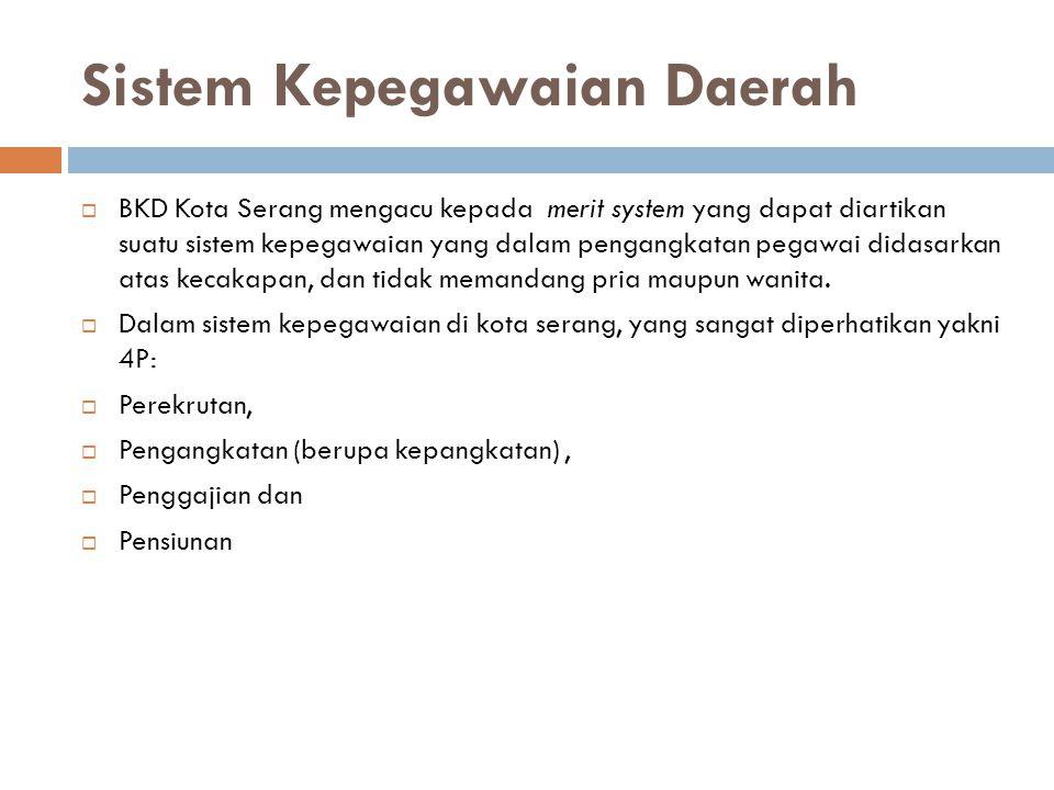 Sistem Kepegawaian Daerah  BKD Kota Serang mengacu kepada merit system yang dapat diartikan suatu sistem kepegawaian yang dalam pengangkatan pegawai