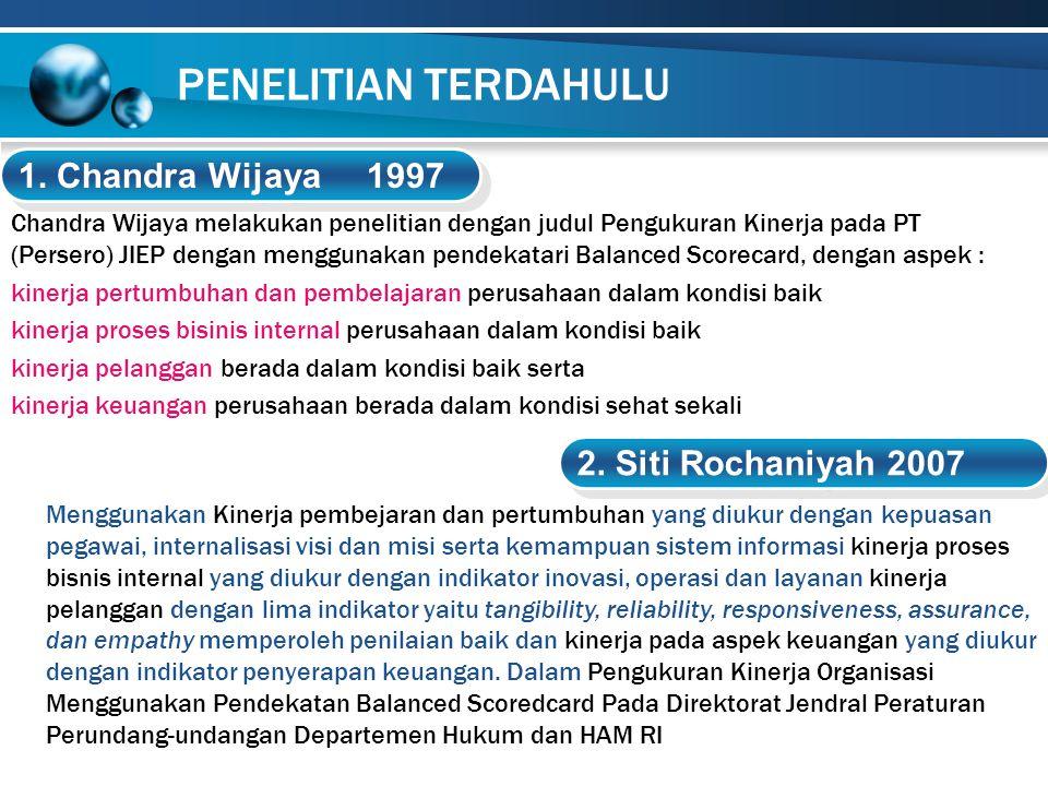 Chandra Wijaya melakukan penelitian dengan judul Pengukuran Kinerja pada PT (Persero) JIEP dengan menggunakan pendekatari Balanced Scorecard, dengan a