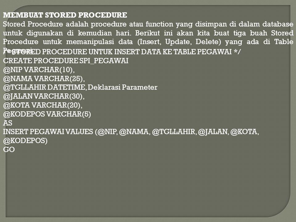 /* STORED PROCEDURE UNTUK UPDATE DATA YANG ADA DI TABLE PEGAWAI */ CREATE PROCEDURE SPU_PEGAWAI @NIP VARCHAR(10), @NAMA VARCHAR(25), @TGLLAHIR DATETIME, @JALAN VARCHAR(30), @KOTA VARCHAR(20), @KODEPOS VARCHAR(5) AS UPDATE PEGAWAI SET NAMA = @NAMA, TGLLAHIR = @TGLLAHIR, JALAN = @JALAN, KOTA = @KOTA, KODEPOS = @KODEPOS WHERE NIP = @NIP GO /* STORED PROCEDURE UNTUK DELETE DATA YANG ADA DI TABLE PEGAWAI */ CREATE PROCEDURE SPD_PEGAWAI @NIP VARCHAR(10) AS DELETE FROM PEGAWAI WHERE NIP = @NIP GO Setelah semua kode diketik di Query Editor kemudian tekan tombol F5 untuk mengeksekusinya.