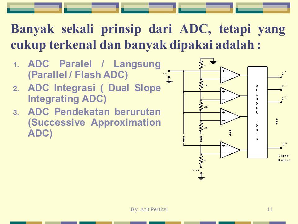 By. Atit Pertiwi11 Banyak sekali prinsip dari ADC, tetapi yang cukup terkenal dan banyak dipakai adalah : 1. ADC Paralel / Langsung (Parallel / Flash