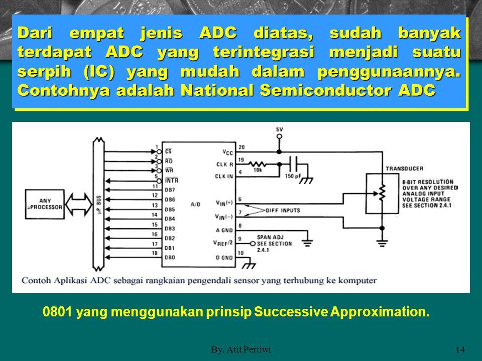 By. Atit Pertiwi14 Dari empat jenis ADC diatas, sudah banyak terdapat ADC yang terintegrasi menjadi suatu serpih (IC) yang mudah dalam penggunaannya.