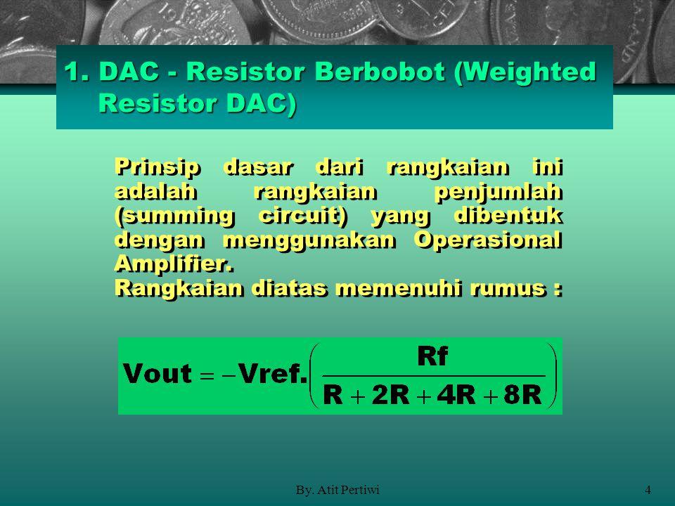 By. Atit Pertiwi4 1. DAC - Resistor Berbobot (Weighted Resistor DAC) Prinsip dasar dari rangkaian ini adalah rangkaian penjumlah (summing circuit) yan