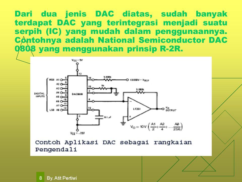 By. Atit Pertiwi 8 Dari dua jenis DAC diatas, sudah banyak terdapat DAC yang terintegrasi menjadi suatu serpih (IC) yang mudah dalam penggunaannya. Co