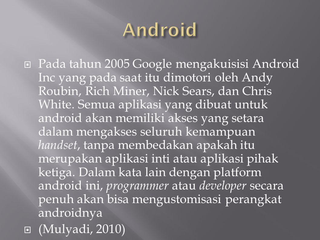  Pada tahun 2005 Google mengakuisisi Android Inc yang pada saat itu dimotori oleh Andy Roubin, Rich Miner, Nick Sears, dan Chris White.
