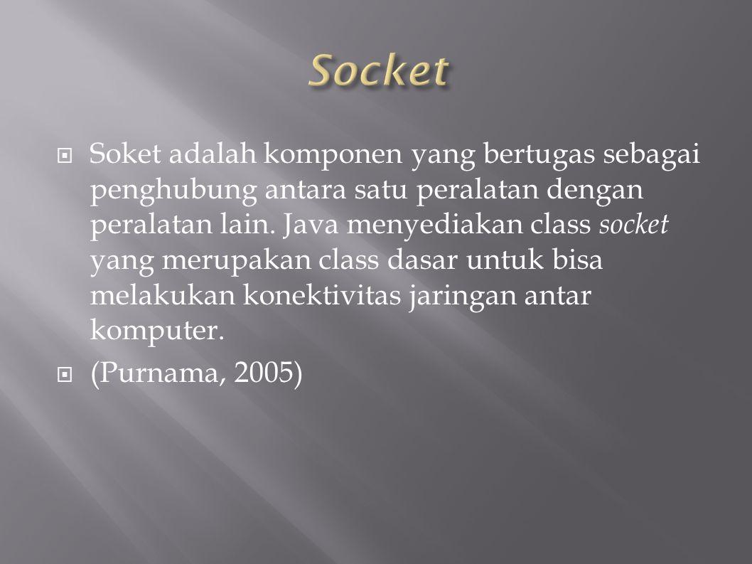  Soket adalah komponen yang bertugas sebagai penghubung antara satu peralatan dengan peralatan lain.