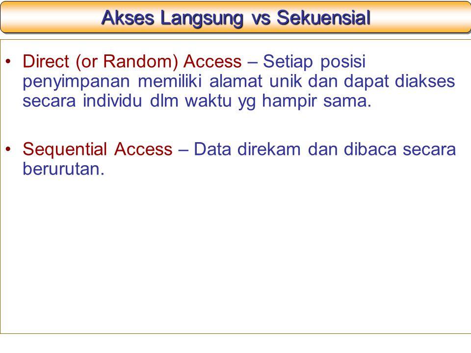 Akses Langsung vs Sekuensial Direct (or Random) Access – Setiap posisi penyimpanan memiliki alamat unik dan dapat diakses secara individu dlm waktu yg