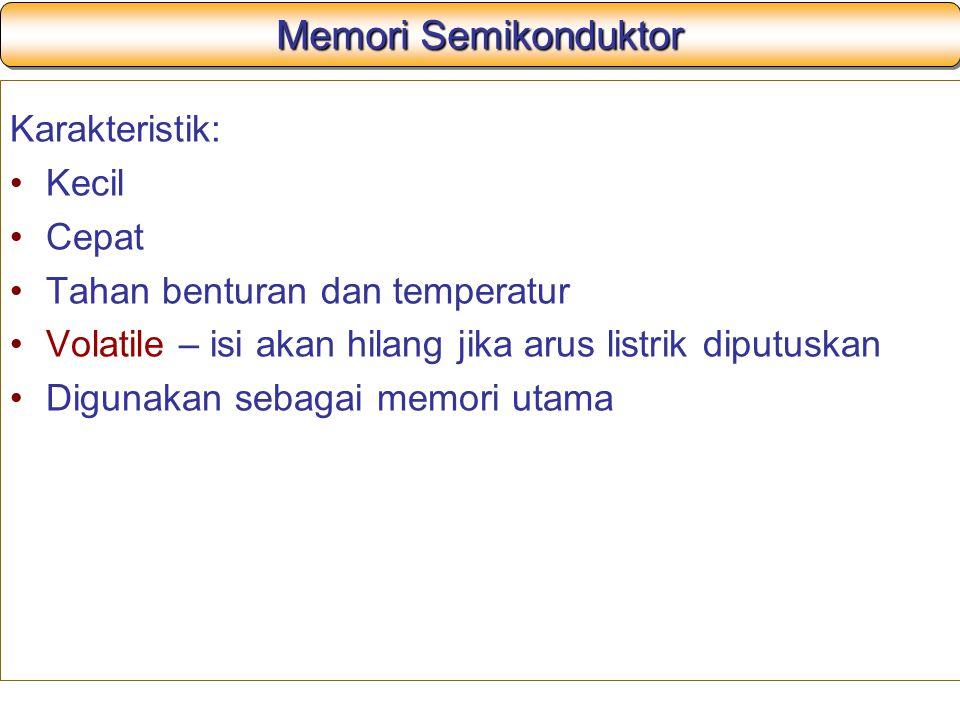 Memori Semikonduktor Karakteristik: Kecil Cepat Tahan benturan dan temperatur Volatile – isi akan hilang jika arus listrik diputuskan Digunakan sebaga