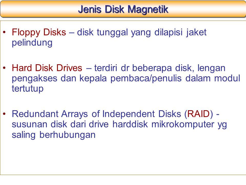 Jenis Disk Magnetik Floppy Disks – disk tunggal yang dilapisi jaket pelindung Hard Disk Drives – terdiri dr beberapa disk, lengan pengakses dan kepala